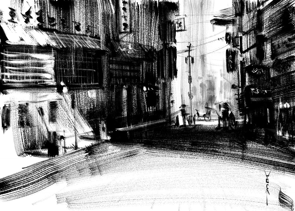 Imagined street scene of Hong Kong using Zen Brush II.