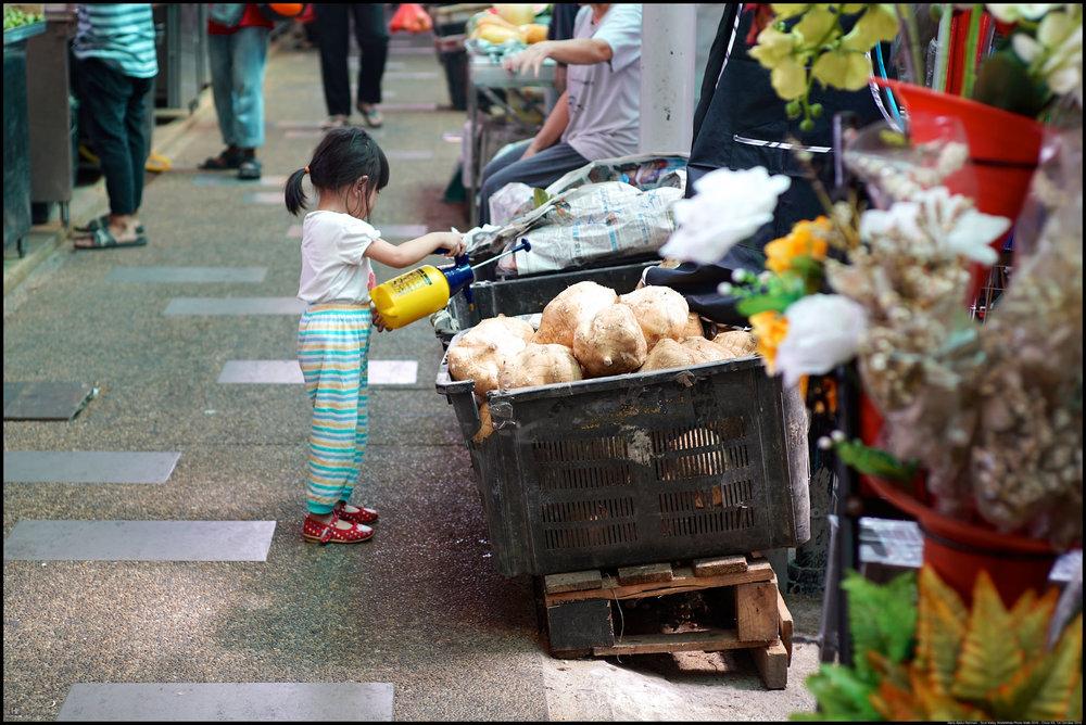Cute girl. Lending a helping hand.