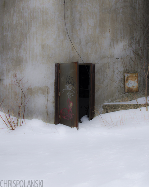 Entrance to the Electric Elevator Annex in winter; Buffalo, New York