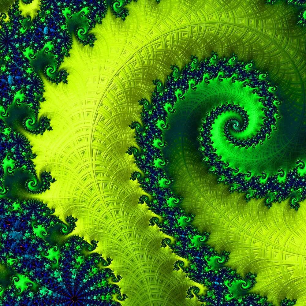 Fractal 1 - Blue, Yellow, Green Spiral