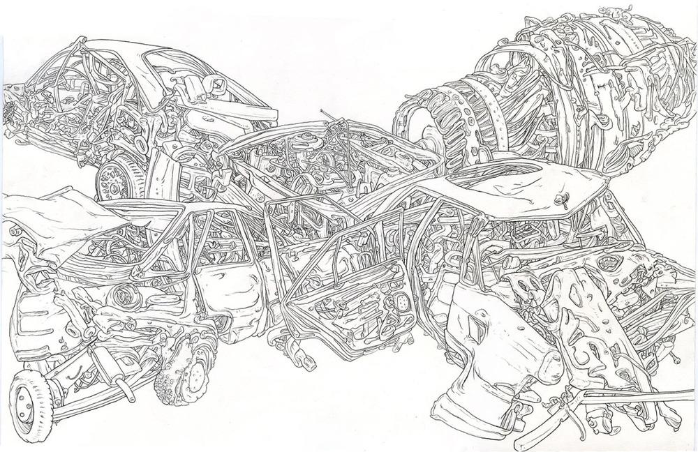 "4 Way Tie, 2012, pencil 15"" x 19"""