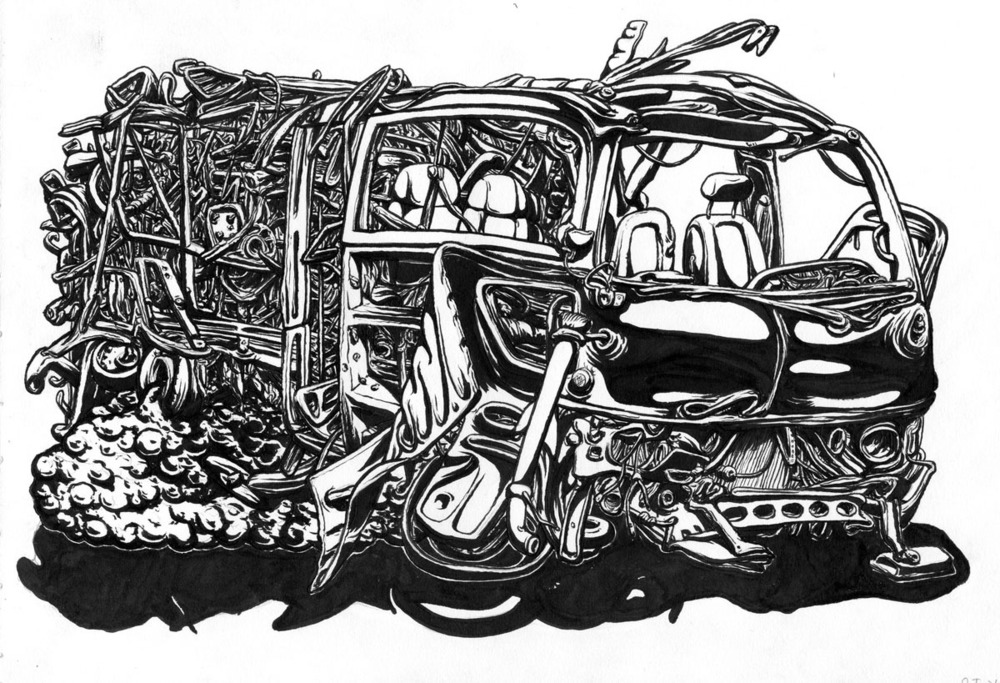"Junk in Trunk, 2012, brush and ink 9"" x 12"""