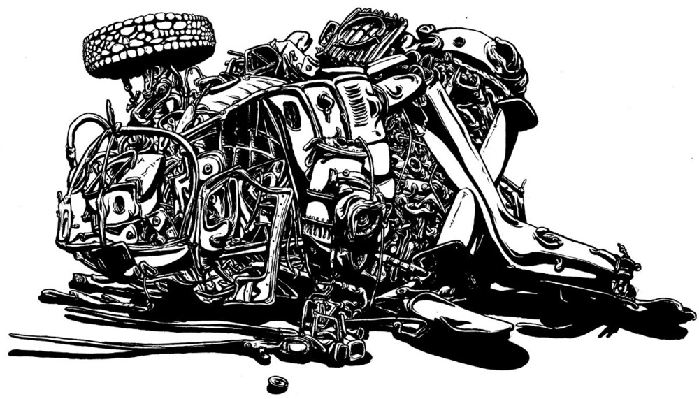 "Chopped, revisited, 2012, brun & ink, 9"" x 12"""