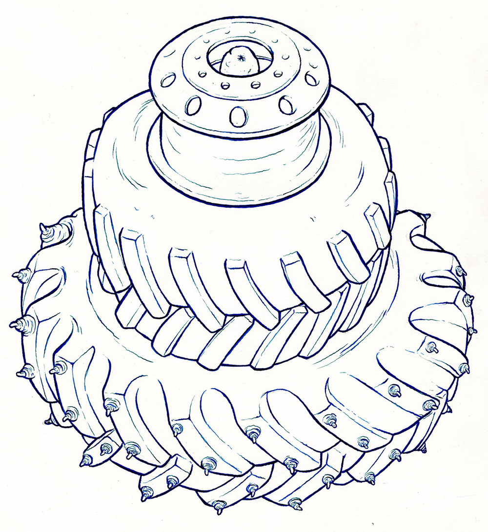 """2013 Cold Tire 10"""" x 12"""" pen & ink"""