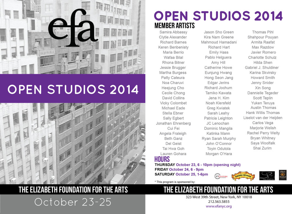 "I'll be there but I might miss the very beginning and end of each day. Studio #310. Come say, ""hi."""