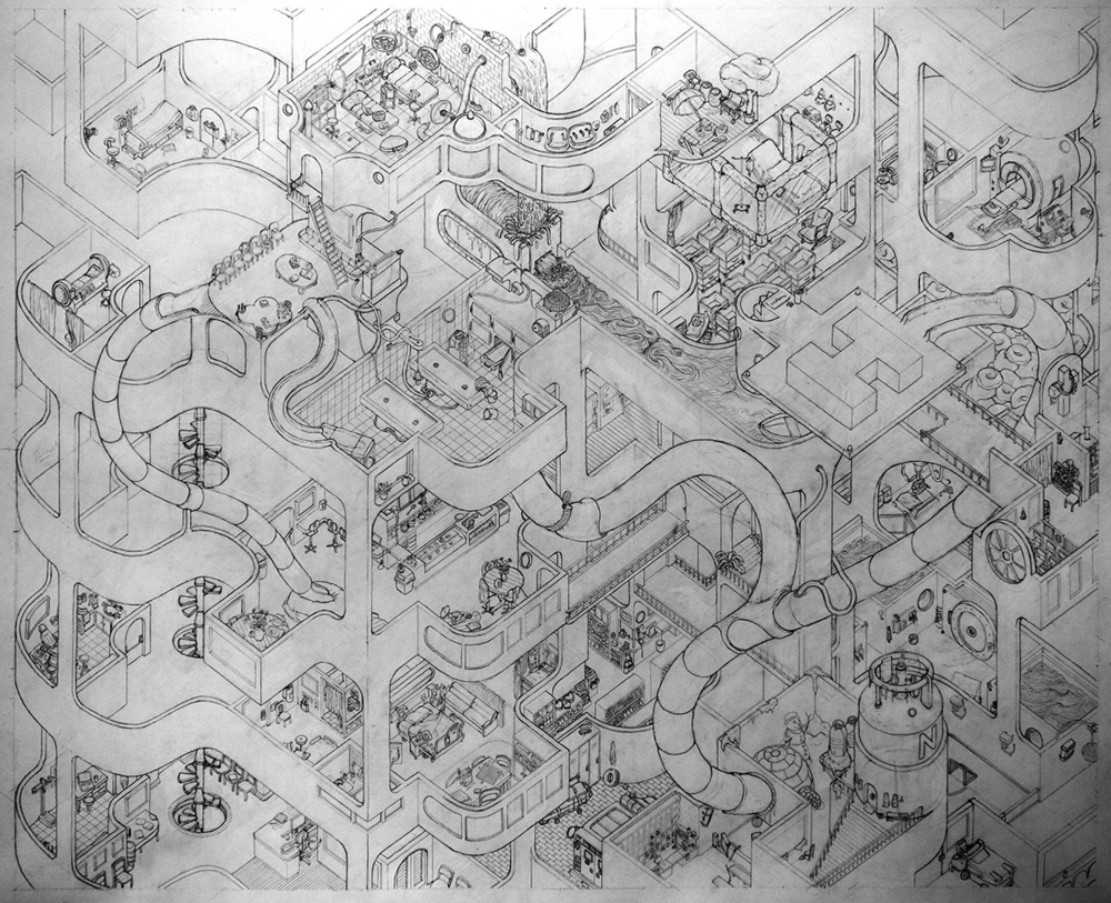 """52"""" x 62"""" pencil on paper"""