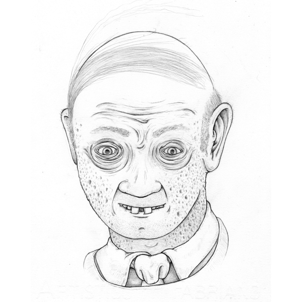 "Mr. Setzer, my high school speech teacher from Mequon, WI. in 1990 drawn for our Teachers from Memory project with Renee French. Mr. Setzer used to challenge students with verbal quips and would usually ""win"" (end it) by essentially implying that his challenger is gay. Watercolor coming soon."