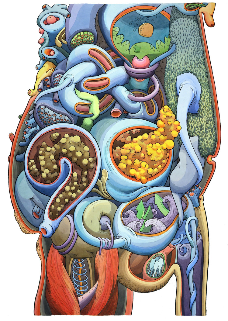 """Healthy Man,"" 52"" x 65"" 2015 - pen & ink and watercolor on paper"