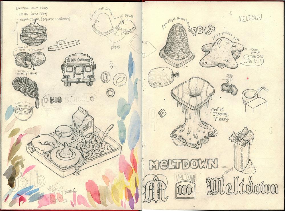 School lunch, sketchbook