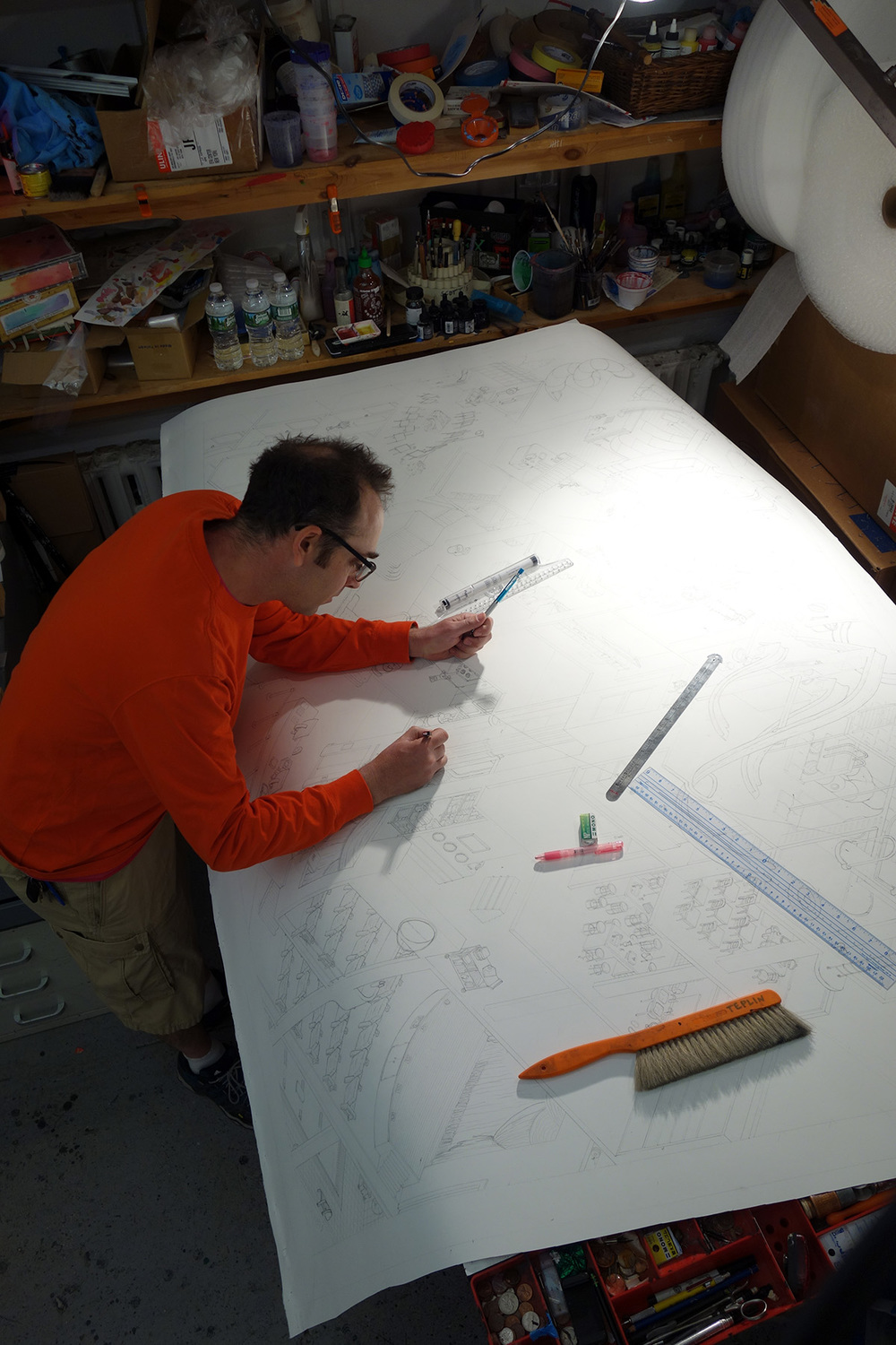 Working in his EFA studio, 2016