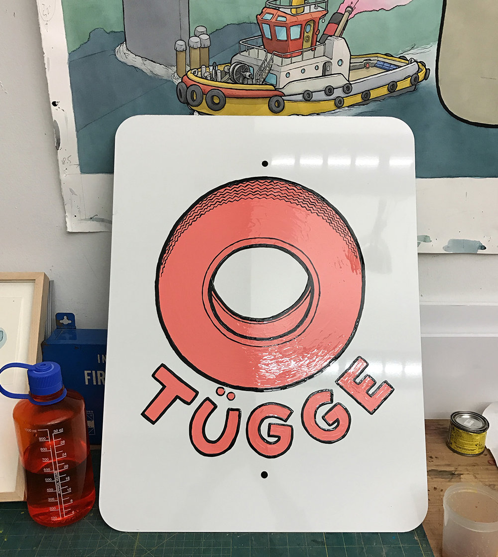 I like to imagine there's a company that makes pink tires meant only for the sides of tug boats. so I made a sign. I think I'll make more. Maybe with a yellow background instead of white?