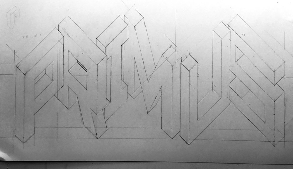 I rejected this first round because proportions were off (a painful exercise because this took a couple of [wasted] hours to draw). I especially didn't like how high the letters reached into what will eventually be the middle of the poster. It looks weirdly blocky because I always draw these with straight lines to get relative measurements correct before curving the, uh, curvy parts.