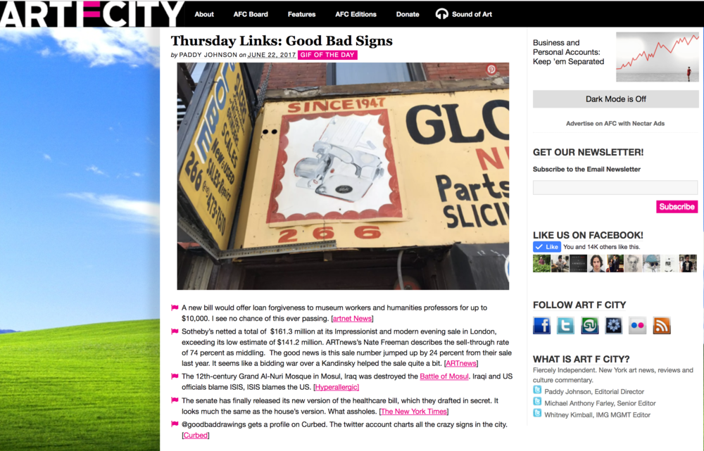 My favorite art blog, Art Fag City picked up the CURBED story! Yay!
