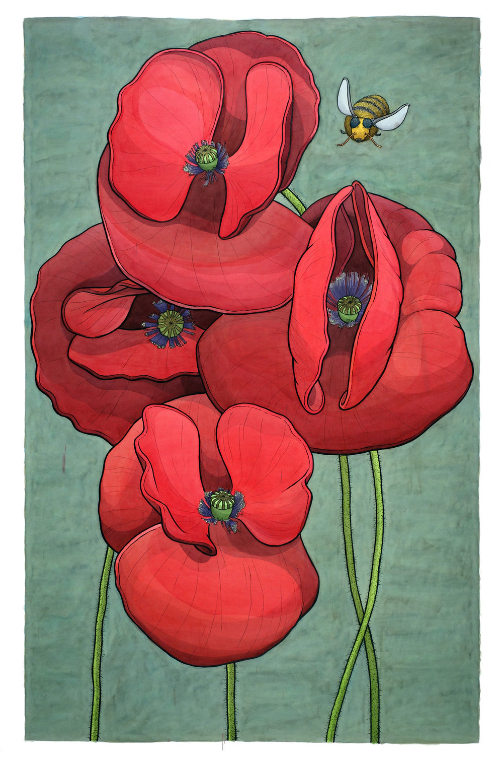 "Poppies with Bumbler 48"" x 30"""
