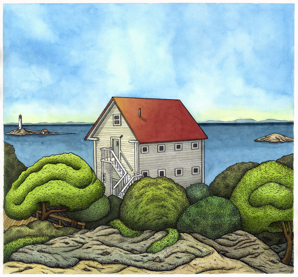 "The Shack, Isle of Shoals 20"" x 20"""