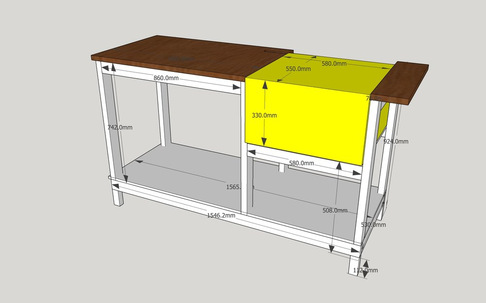 Woodworking dewalt table saw stand dave bywaters for Table design sketchup