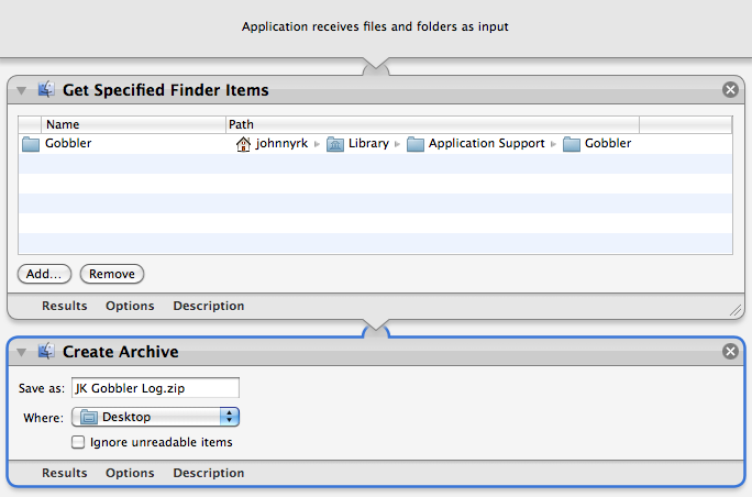 The Automator part is rather straight forward: find the files and zip them.