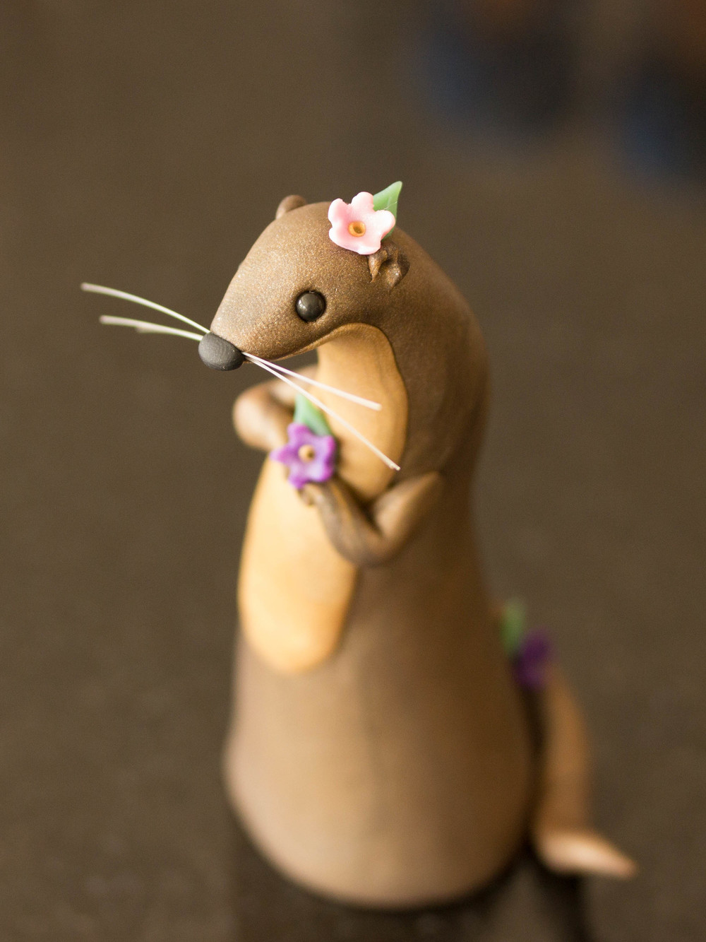Custom River Otter Poupette with Flowers