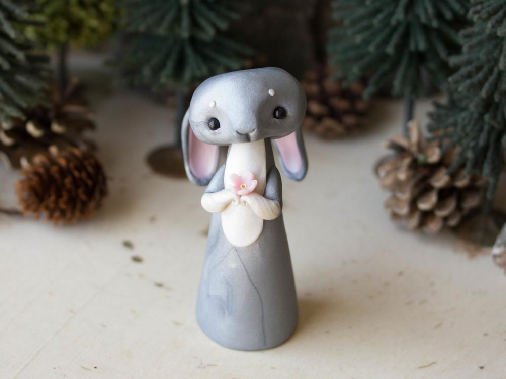 Grey Sakura Gazing Hare Poupette