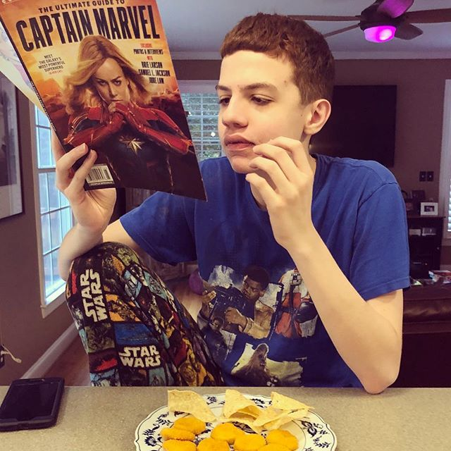 He is studying up for next weekend #captainmarvel