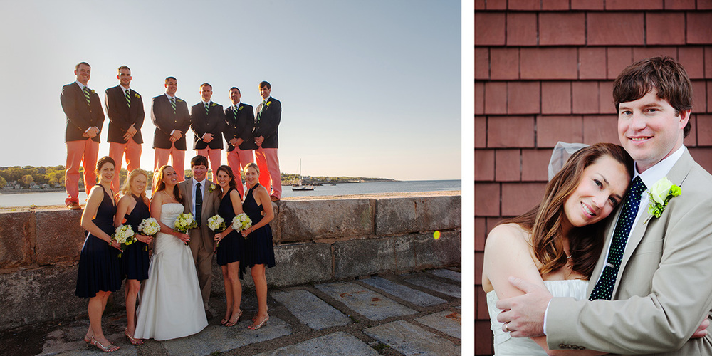 Massachusetts Wedding Photography, wedding album sample page with bridal party