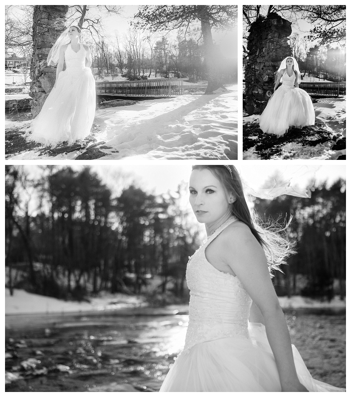 Massachusetts bridal photography, winter bridal, black and white bridals
