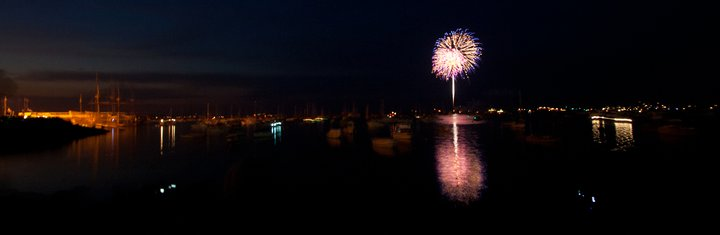 Fourth of July Fireworks over Plymouth Harbor in Plymouth Massachusetts