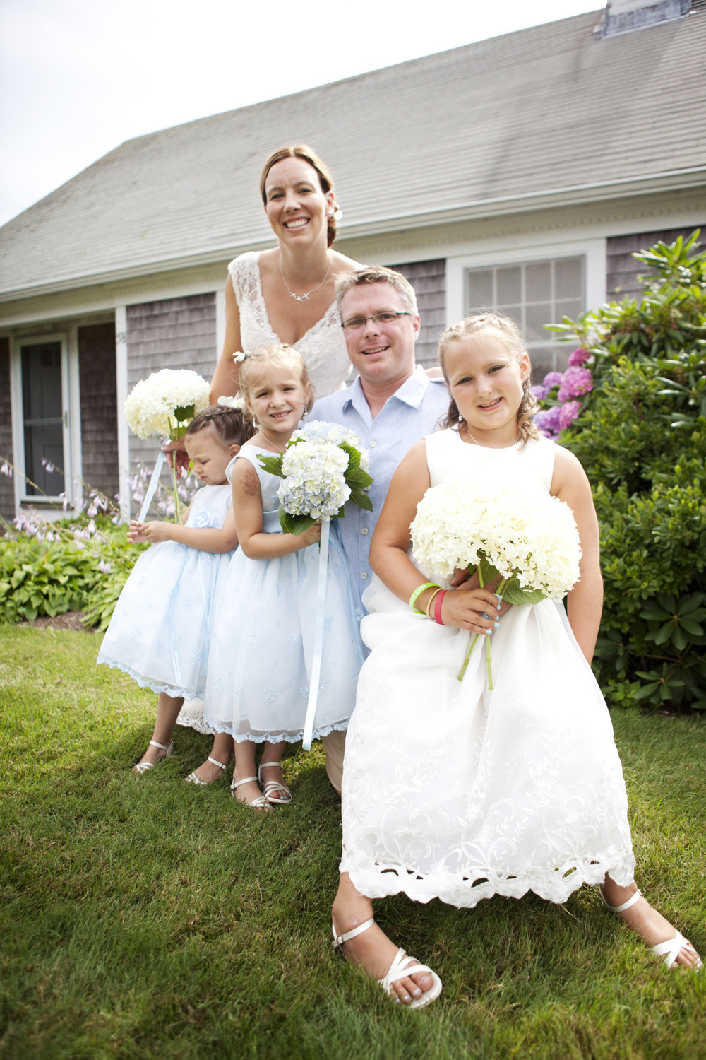 Cape Cod Wedding, Bride and groom with family in Chatham Massachusetts