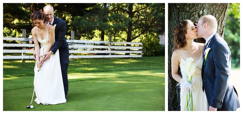 From a wedding at the Cherry Hill Golf Course in Amherst, MA. On the left the bride and groom are in full shade, screening them from the sun. On the right, they have strong directional light coming from the side, which can cause unwanted highlights and shadows.