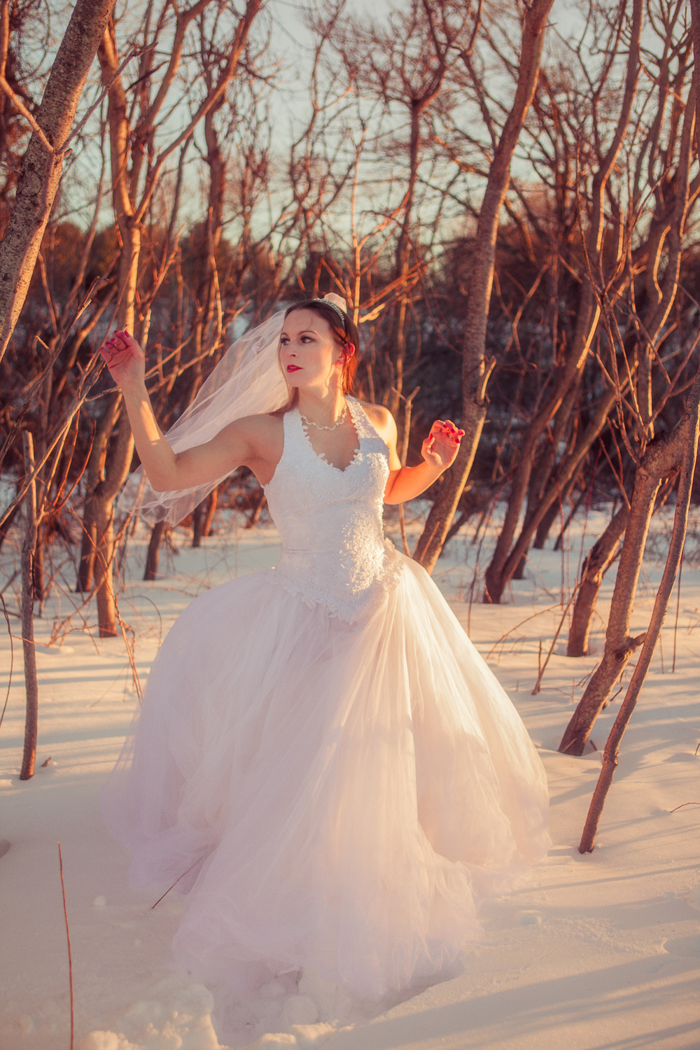A winter bridal session in MIddleboro, Massachusetts.