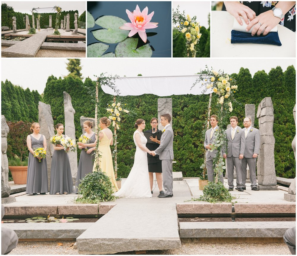 Wedding Ceremony at Grounds for Sculpture by Boston Wedding Photographer Ryan Richardson Photography. Gray and yellow bridal party