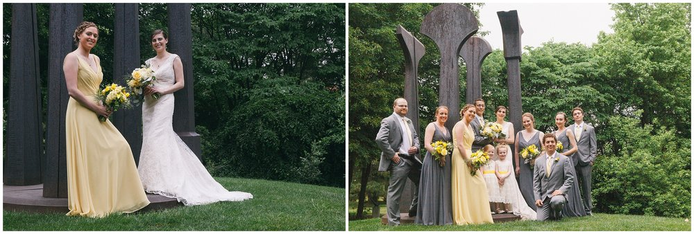 Wedding Portraits of Bride and Maid of Honor in yellow and portrait of bridal party in gray and yellow by Boston Wedding Photographer Ryan Richardson Photography