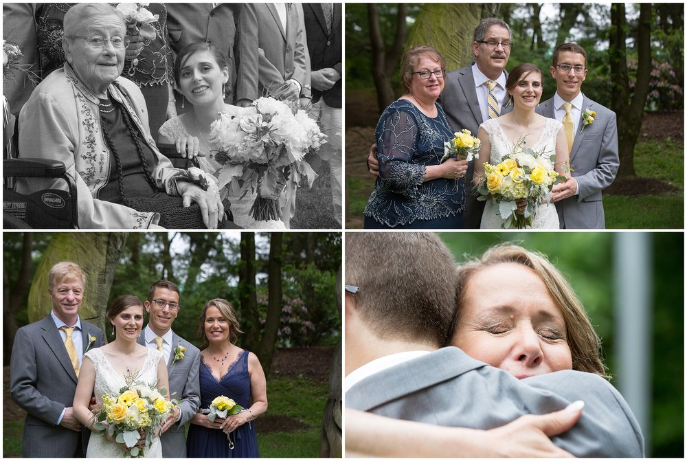 Wedding Portraits of couple and parents, as well as bride and grandmother. Inset of Mother of Groom crying by Boston Wedding Photographer Ryan Richardson Photography