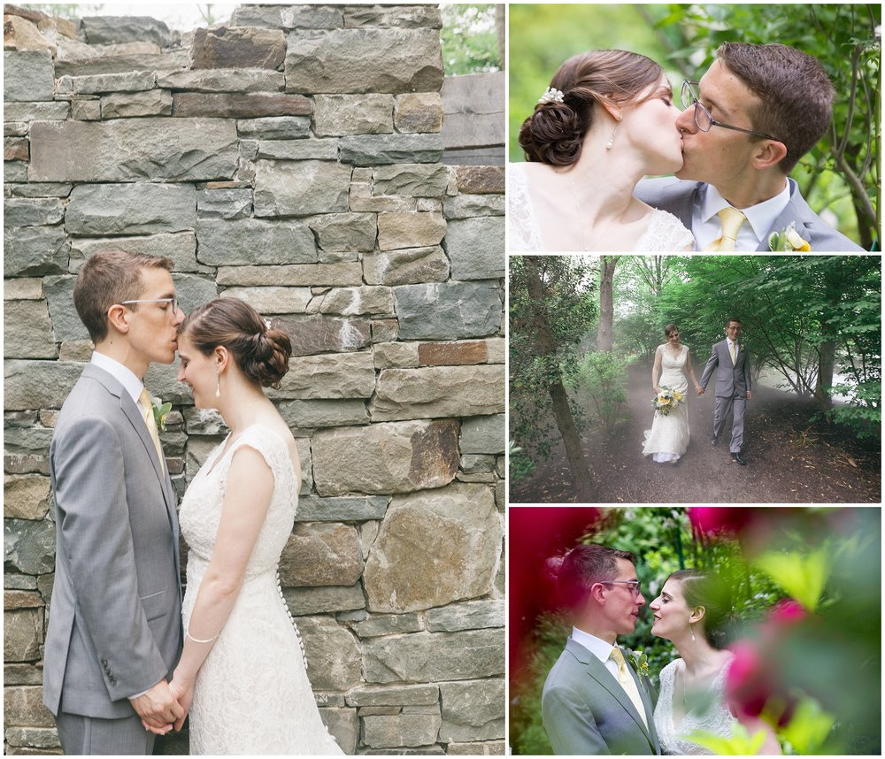 Wedding portrait of bride and groom against stone wall. Inset of bride and groom with flowers in foreground by Boston Wedding Photographer Ryan Richardson Photography