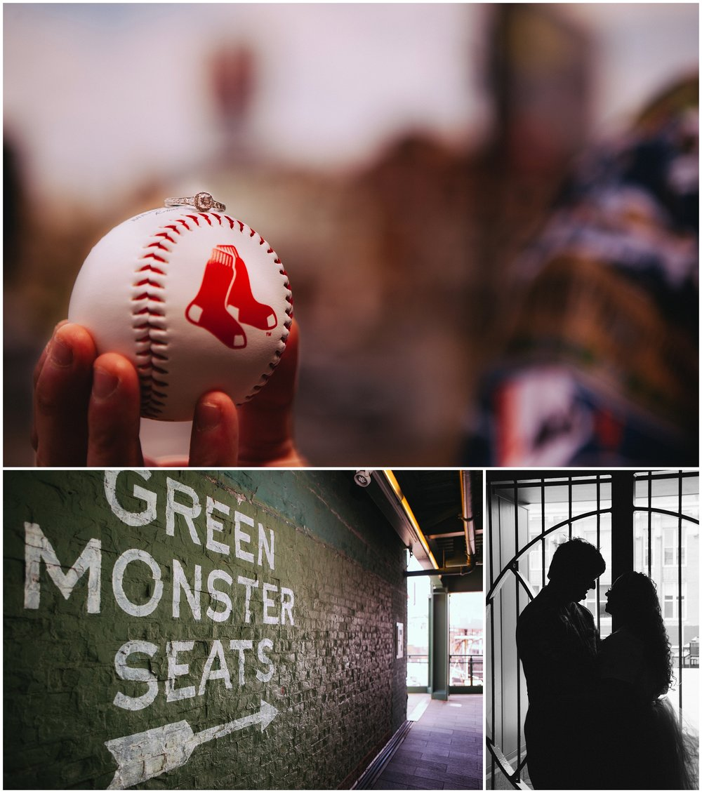 Fenway Park Engagement Photography, Boston MA. Collage with engagement ring on top of the ball, a sign for teh green monster and a couple embracing in silhouette.