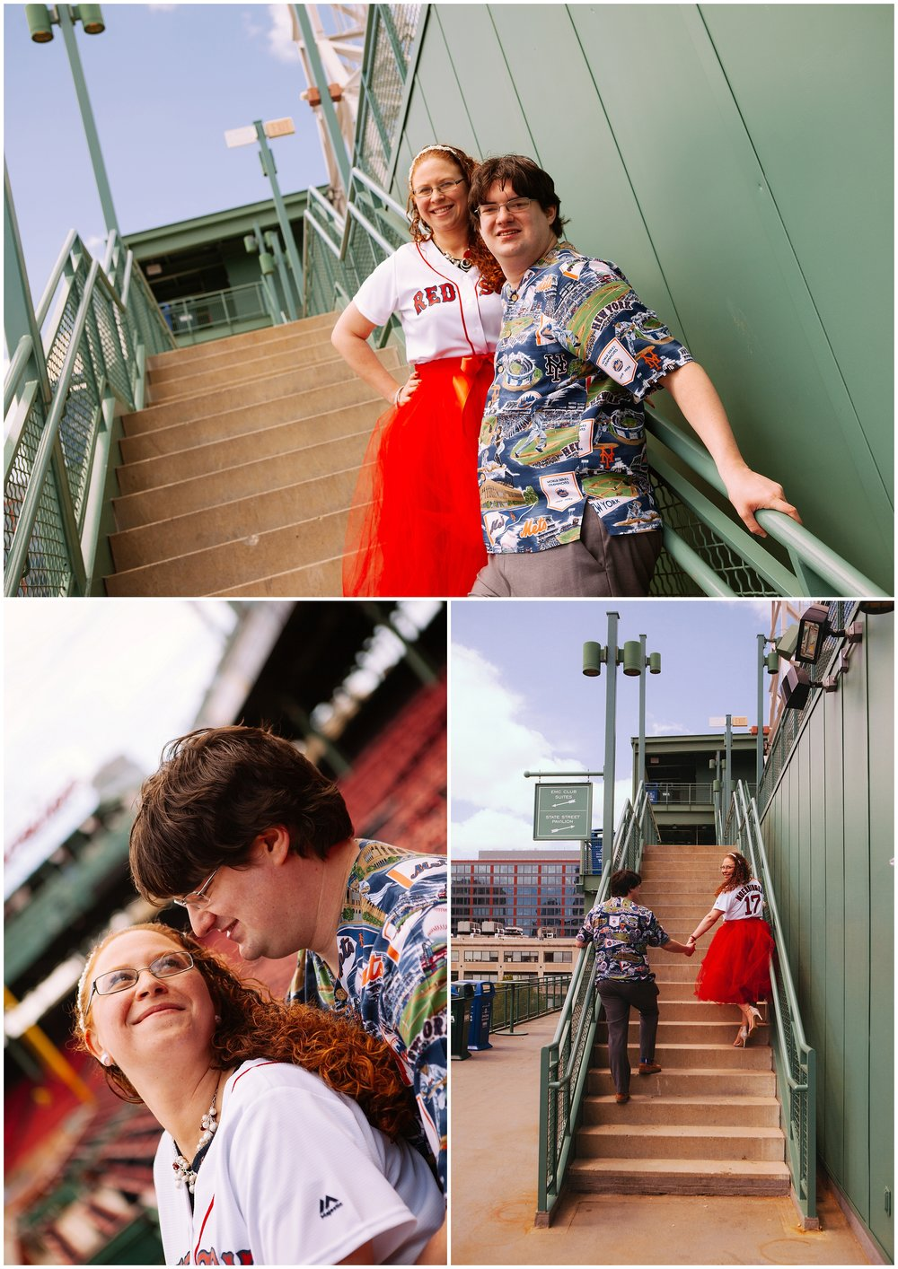 Fenway Park Engagement Photography - Man and woman portrait collage.