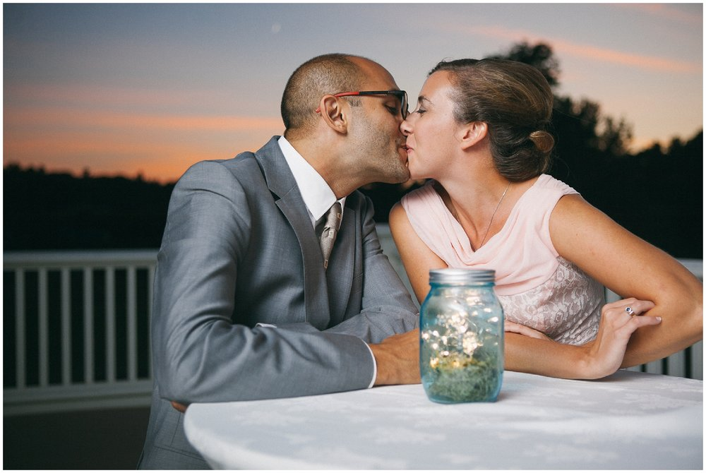 Bride and Groom kissing at sunset - Wellesley Country Club Wedding Photography
