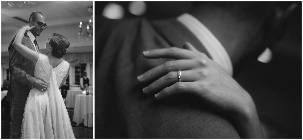 Bride and groom having their first dance, again, in black and white. Second photo has detail of bride's hand with wedding ring on it - Wellesley Country Club Wedding Photography.