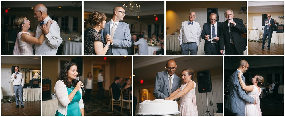 Collage of wedding reception events including father/daughter dance; mother/son dance; speeches; cake cutting and first dance - Wellesley Country Club Wedding Photography
