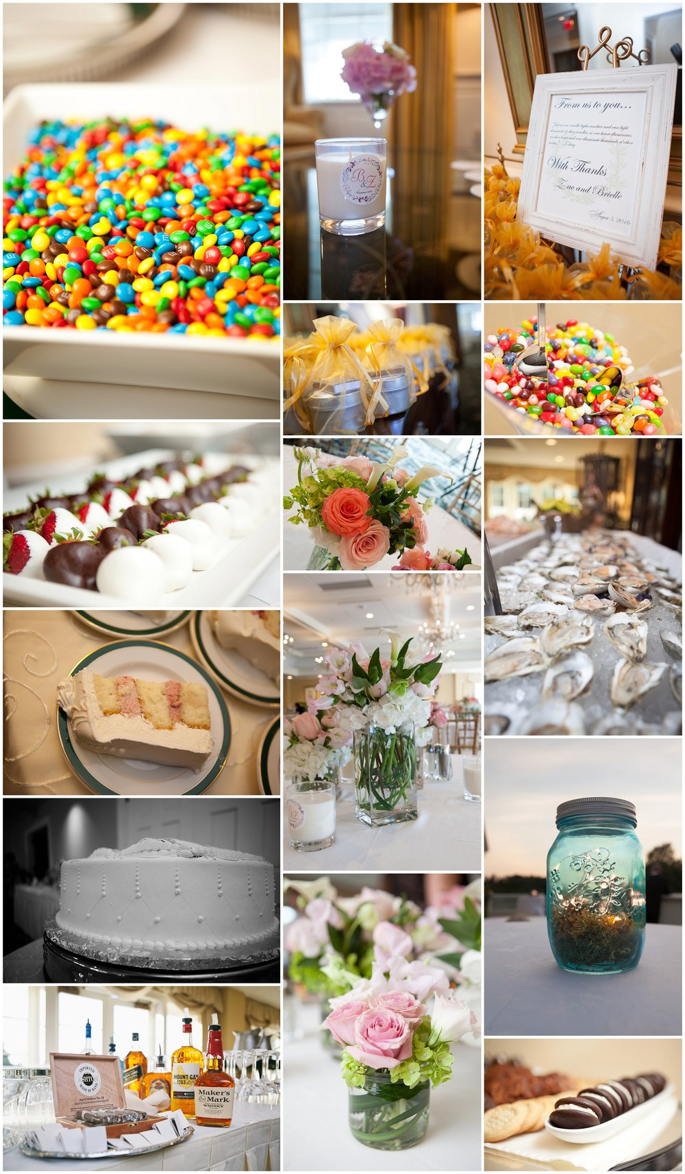 Collage of wedding reception details including cigar bar; dessert station; oyster bar; and table decor -Wellesley Country Club Wedding Photography