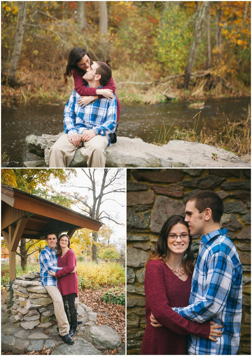 Massachusetts Engagement Photography - Collage of couple dressed for Fall weather by Ryan Richardson Photography.