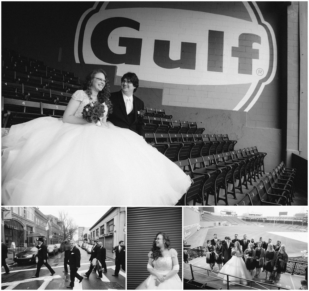 Boston Wedding Photography black and white images in collage - Bride and groom at Fenway Park in Boston - by Ryan Richardson Photography