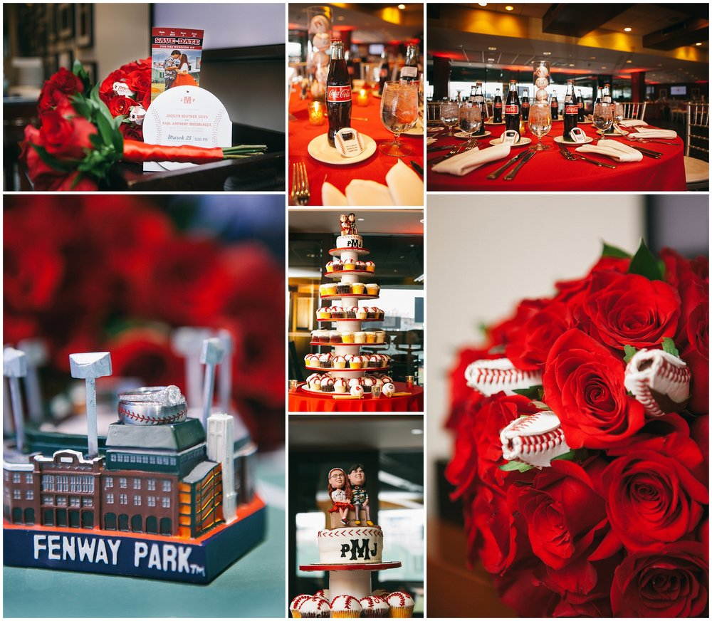 Boston Wedding Details - Baseball themed wedding at Fenway park. Includes baseball favors, baseball invitations, and baseball roses g - by Ryan Richardson Photography