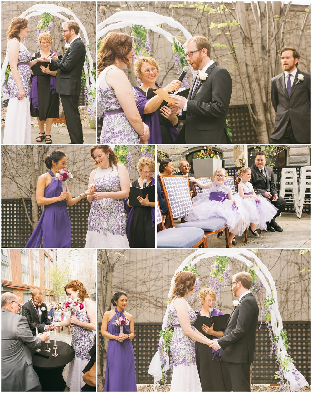 Liberty Hotel Boston Wedding Photography - Outdoor wedding ceremony with bride and groom. Images include lighting of unity candle and exchanging of rings by Ryan Richardson Photography.