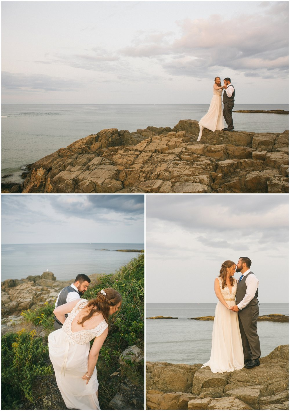 Bride and Groom on cliffs overlooking the Atlantic in Ogunquit, ME by the Beachmere Hotel. Photography by Ryan Richardson Photography, a Boston Wedding Photographer.