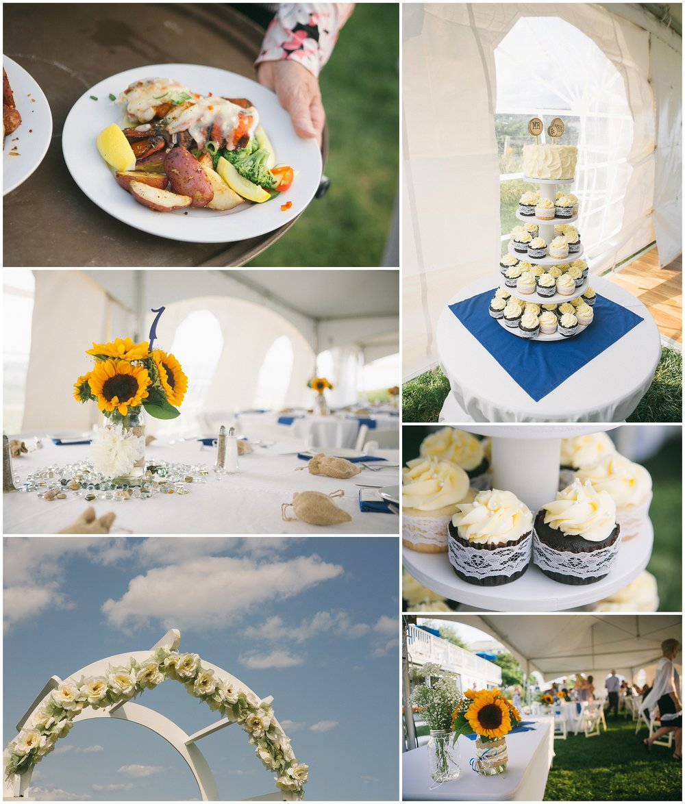 Wedding details and catering provided by the Beachmere Inn in Ogunquit Maine - Image shows tablescape under tend, wedding arch, plated lobster dinner, also there are cupcakes. Wedding Photography by Ryan Richardson Photography.