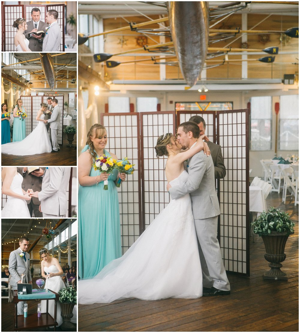 Wedding Ceremony in front of paper screen at Jones River Trading Company. Bride in white strapless dress and groom in light gray suit - images include first kiss, exchanging of rings as well as sand ceremony. Images by Ryan Richardson Photography