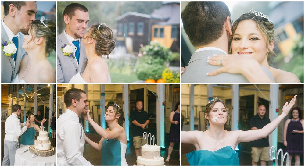 Above - Portraits of the bride and groom against the outdoor backdrop of the Jones River Trading Company. Below - The bride adn groom hit one another with frosting after the cutting of the cake and the bride raises her hands in victory. Wedding Photography by Ryan Richardson Photography.