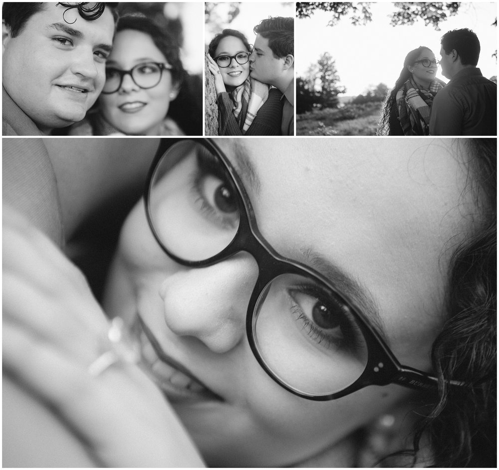 Black and White Engagement Photography by Boston Wedding Photographer, Ryan Richardson Photography. Main image is close up of woman with engagement ring in soft focus in foreground.