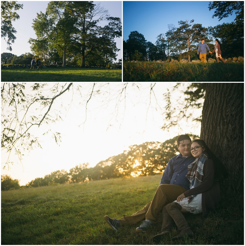 Main image is couple sitting up against tree as the sun sets behind them. Engagement Photography at World's End in Hingham, MA by Ryan Richardson Photography.